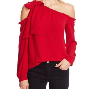 CeCe Bow & Ruffle Off-Shoulder Top